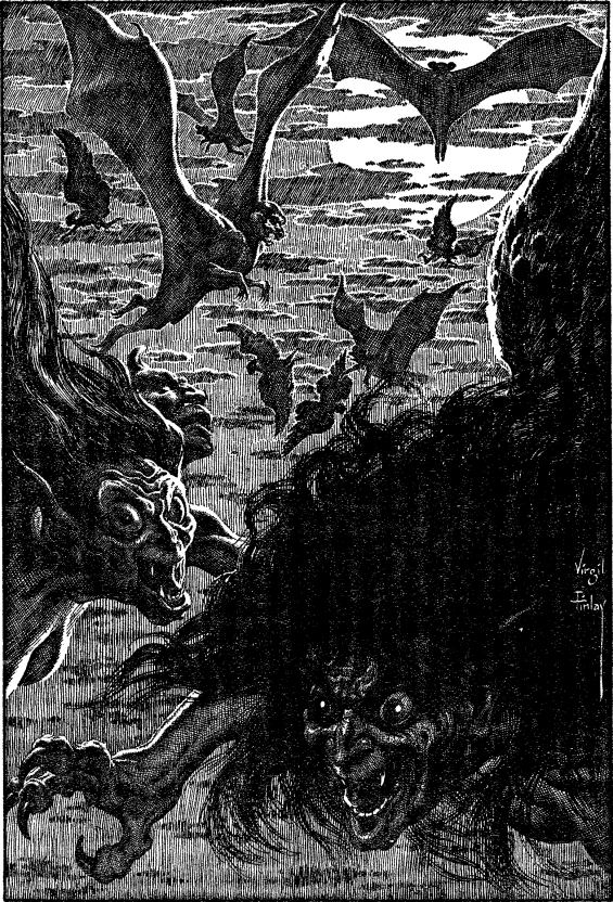 Hallowe'en In A Suburb by H. P. Lovecraft - illustration by Virgil Finlay