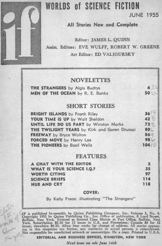 Table of contents from IF: Worlds Of Science Fiction, June 1955