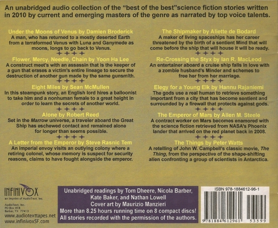 INFINIVOX - The Year's Top Ten Tales Of Science Fiction - Volume 3 - BACK COVER