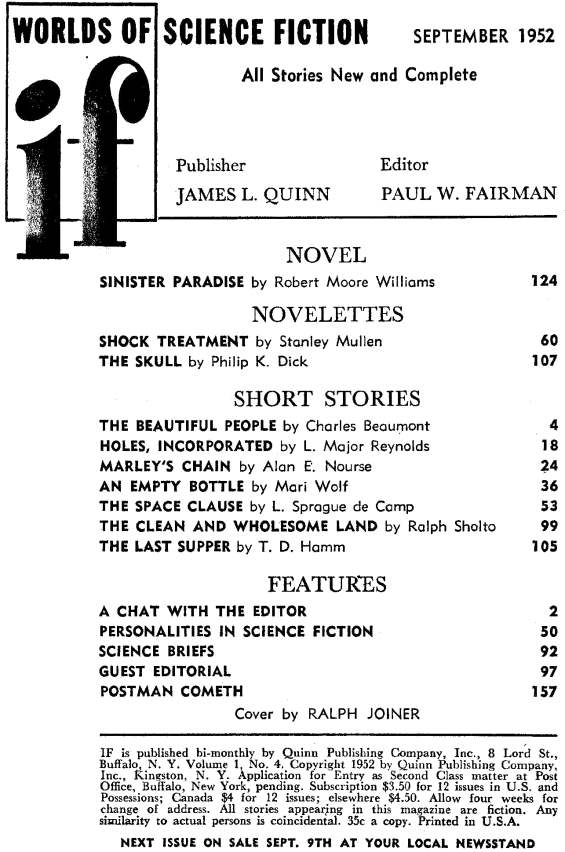 Table of contents from If September 1952 (includes The Skull)