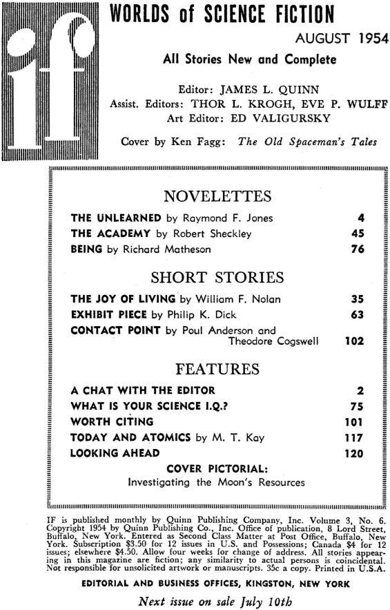 IF Worlds Of SF August 1954 Table Of Contents (includes Exhibit Piece by Philip K. Dick)