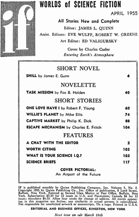 If Worlds Of Science Fiction, April 1955 - Table Of Contents (includes Captive Market by Philip K. Dick)