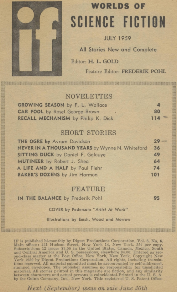 IF Worlds Of Science Fiction July 1959 - Table Of Contents (includes Recall Mechanism by Philip K. Dick)