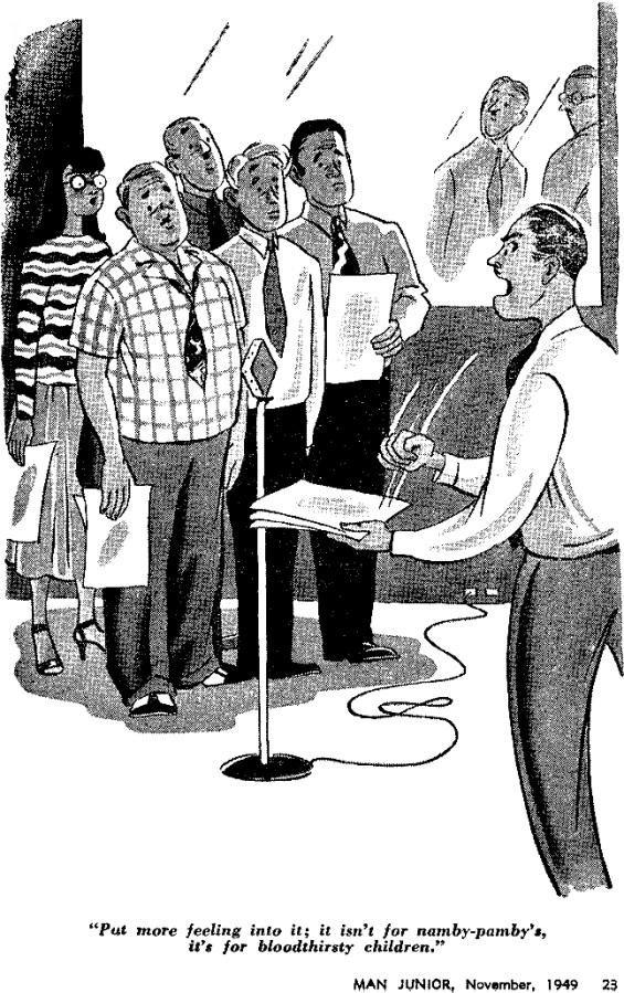 Cartoon from Man Junior, November 1949 (cartoonist uncredited)
