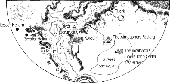Map Of Barsoom from Dynamite Entertainment's Warlord Of Mars (illustrating the events of A Princess Of Mars)