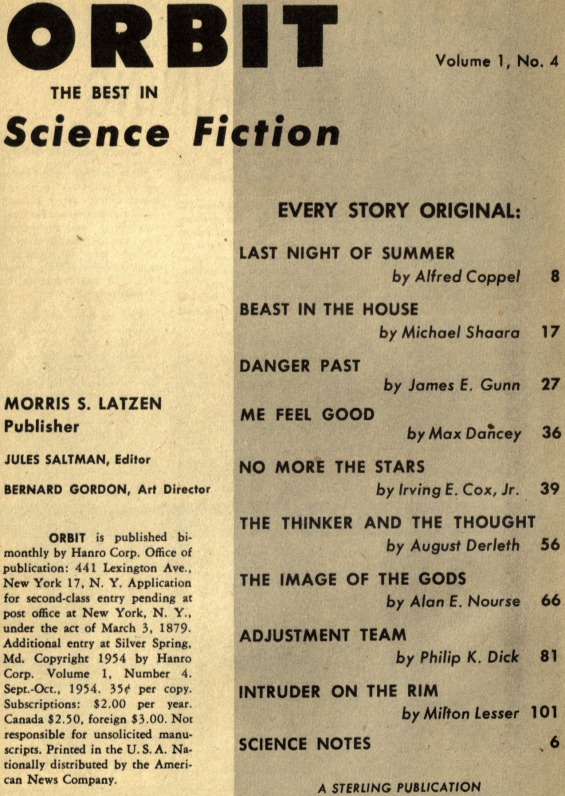 Orbit Science Fiction No.4 Sept-Oct 1954 Table Of Contents