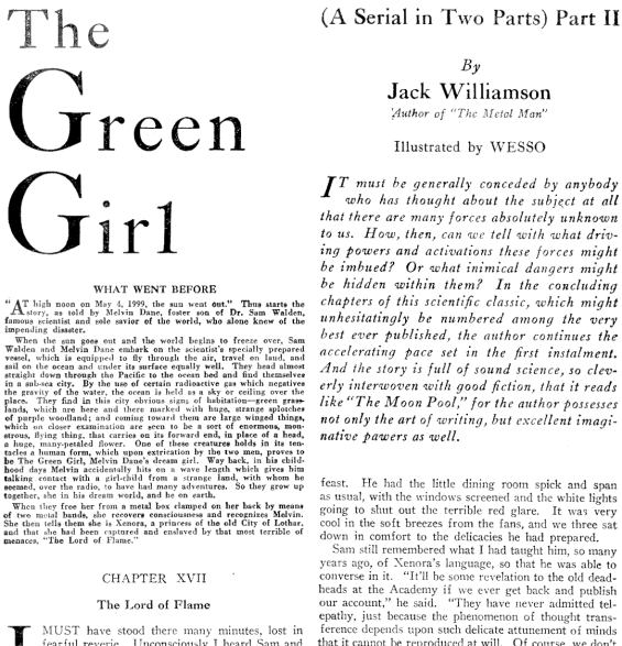 Amazing Stories April 1930 - Page 61 - The Green Girl by Jack Williamson