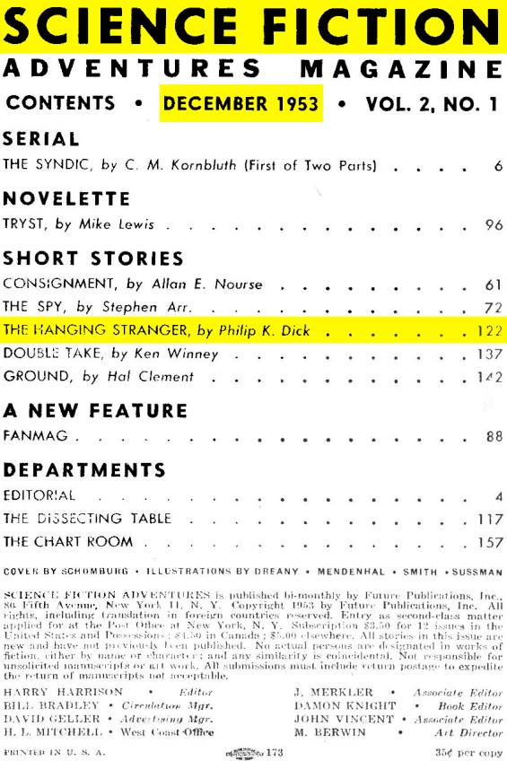 Science Fiction Adventures - December 1953 - Table Of Contents
