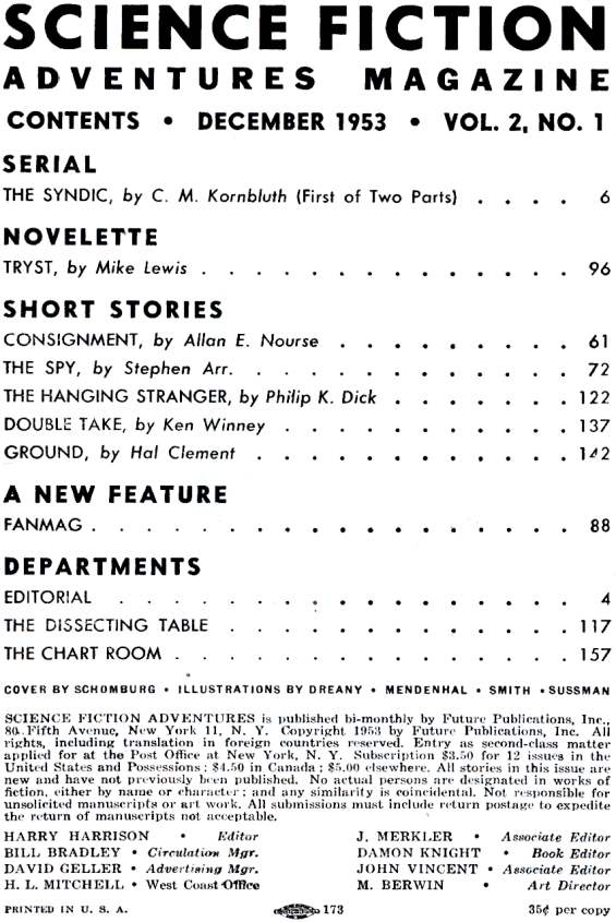 Table of contents for Science Fiction Adventures Magazine December 1953