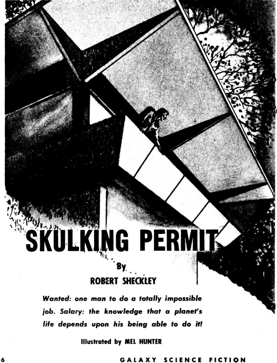 Skulking Permit by Robert Sheckley - illustration by Mel Hunter (Galaxy Magazine's December 1954 issue)