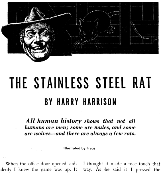 The Stainless Steel Rat - Illustrated by Frank Kelly Freas - from Astounding Science Fiction, August 1957