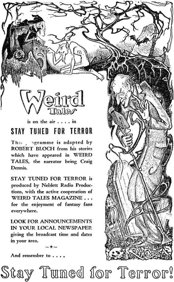 Stay Tuned For Terror - illustration by Dolgov from Weird Tales, September 1945
