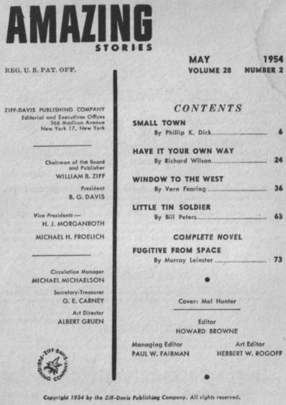 Table of contents from Amazing Stories May 1954