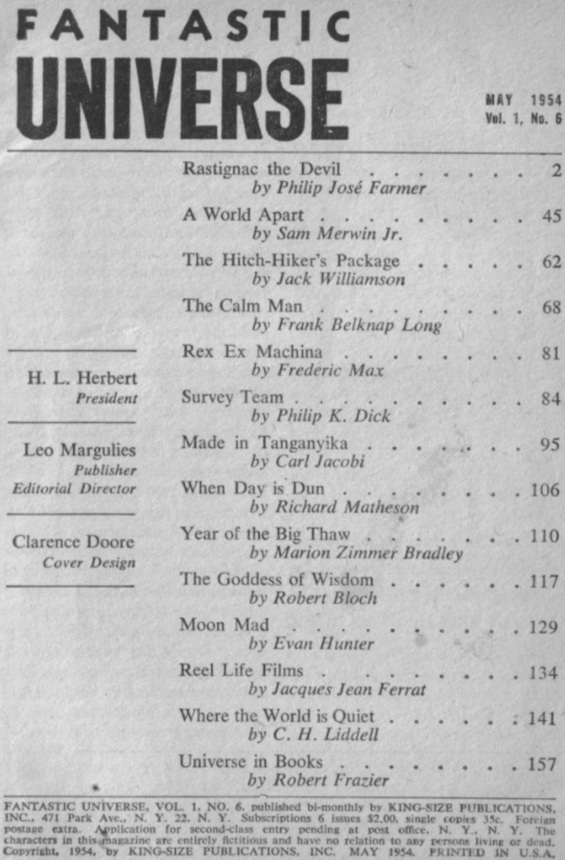 Table of contents from Fantastic Universe May 1954