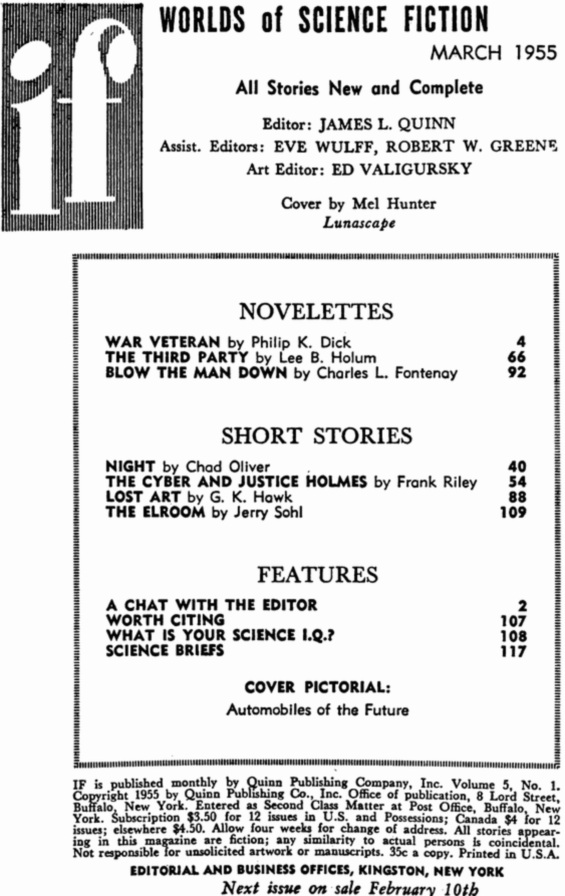 Table of contents from IF - March 1955