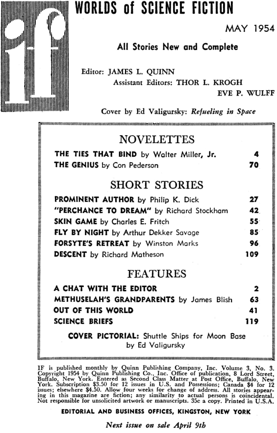 Table of contents for IF: Worlds Of Science Fiction - May 1954 (includes Prominent Author by Philip K. Dick)