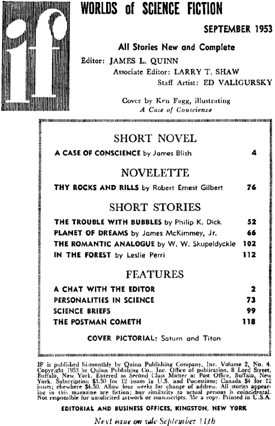 Table of contents for If: Worlds Of Science Fiction - September 1953 (includes The Trouble With Bubbles by Philip K. Dick)