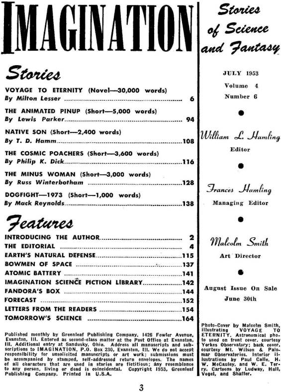 Table of contents for Imagination July 1953 - including The Cosmic Poachers by Philip K. Dick