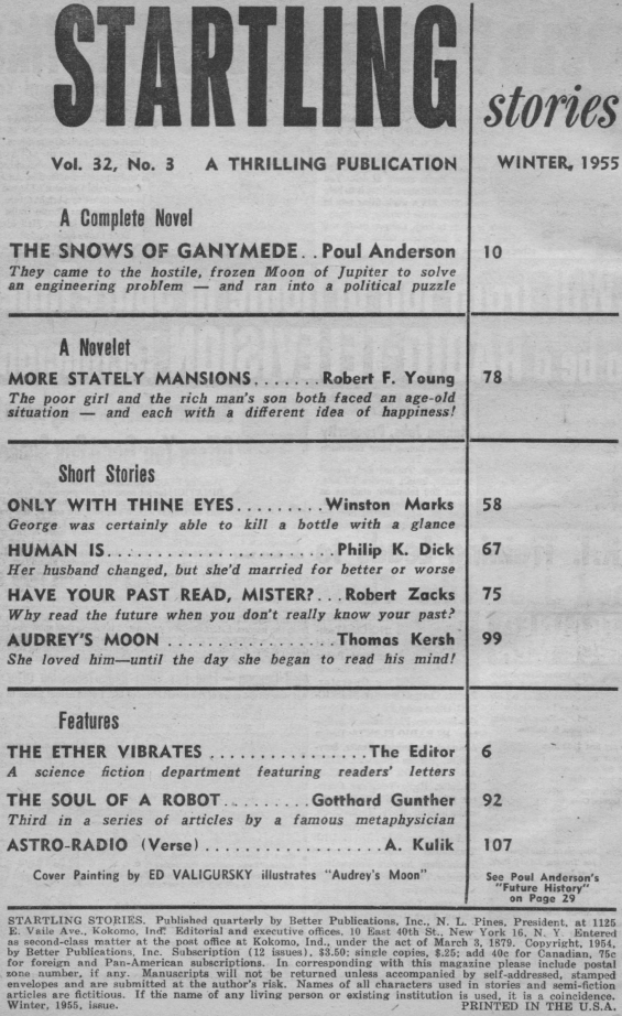 Table of contents for Starling Stories Winter 1955 (includes Human Is by Philip K. Dick)