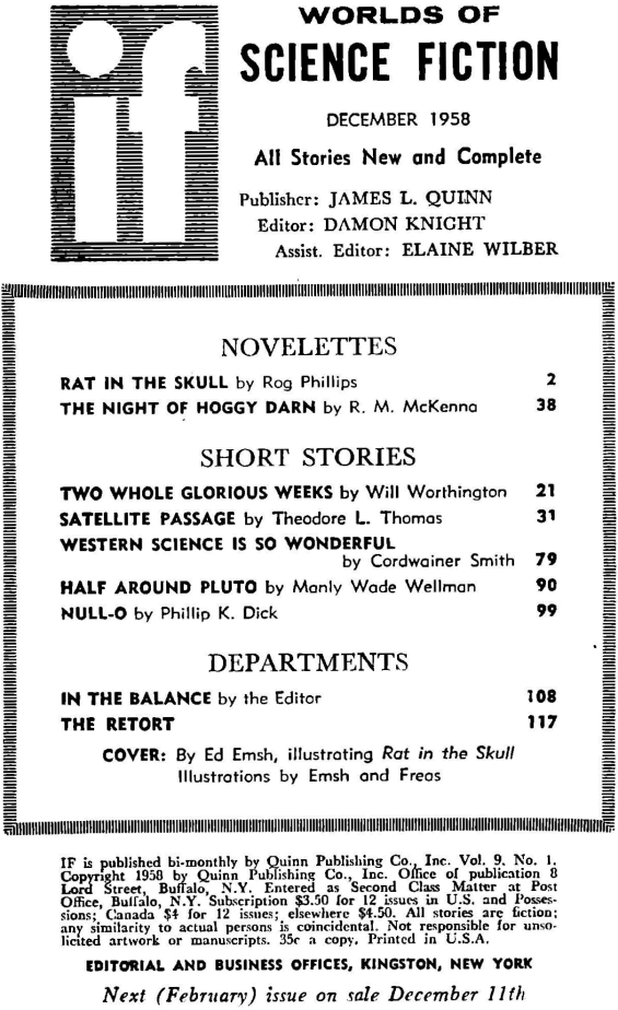Table of contents for the December 1958 issue of Worlds Of If (includes Null-O by Philip K. Dick):