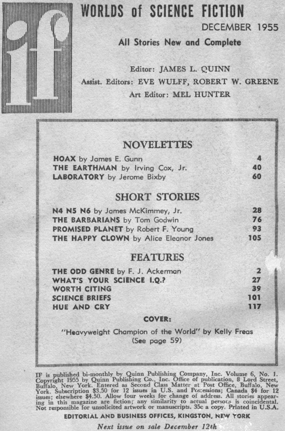 Table of contents from the December 1955 issue of IF: Worlds Of Science Fiction