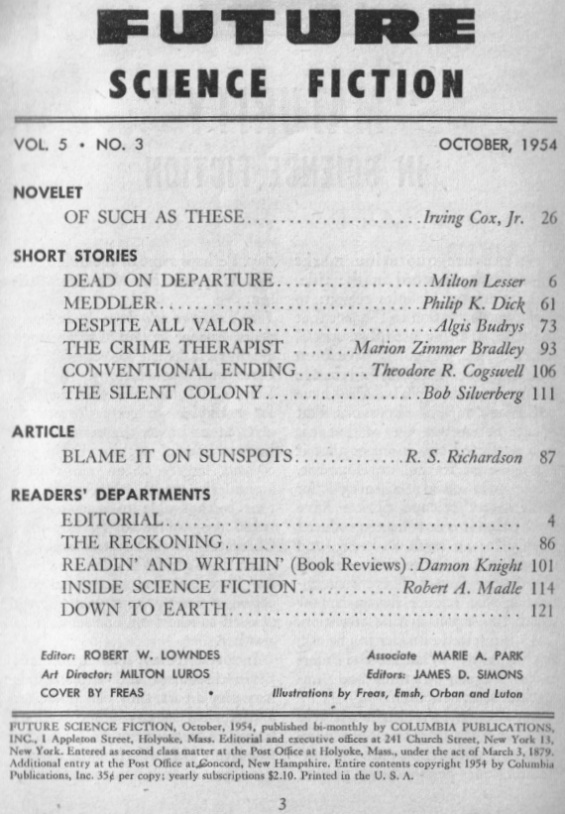 Table of contents from Future Science Fiction October 1954