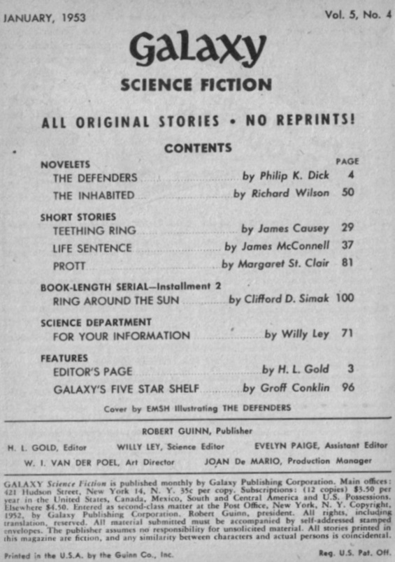 Table of contents from Galaxy Science Fiction January 1953