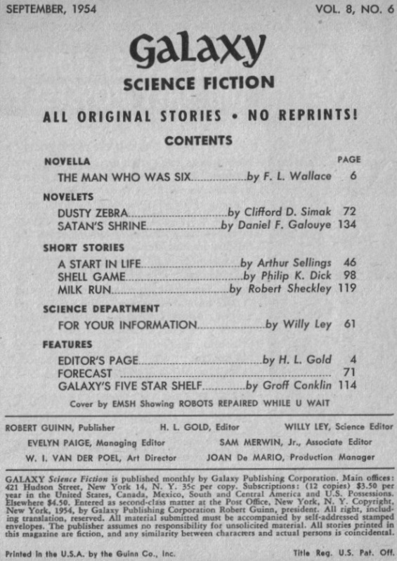 Table of contents from Galaxy Science Fiction September 1954