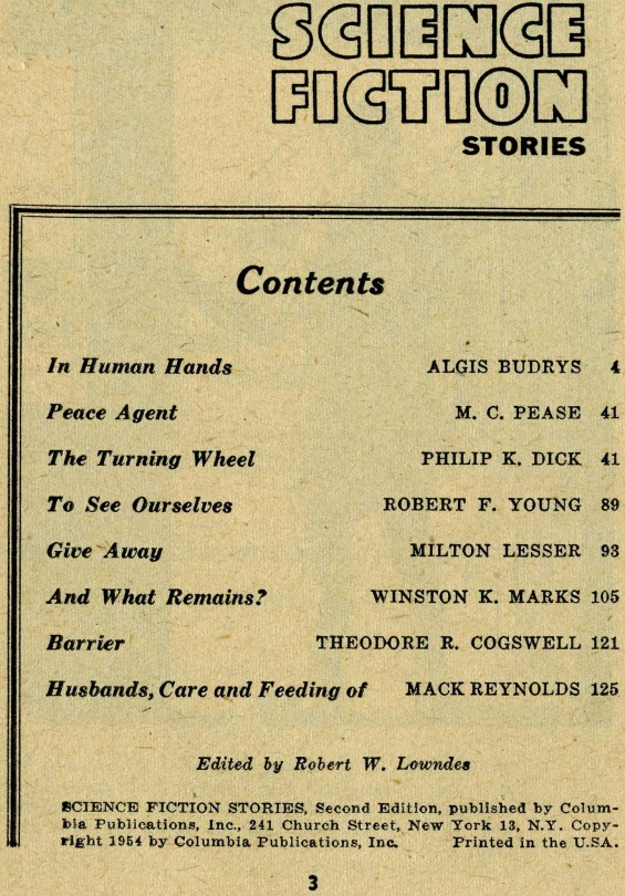 Table of contents for Science Fiction Stories No. 2 1954  (includes Turning Wheel by Philip K. Dick)