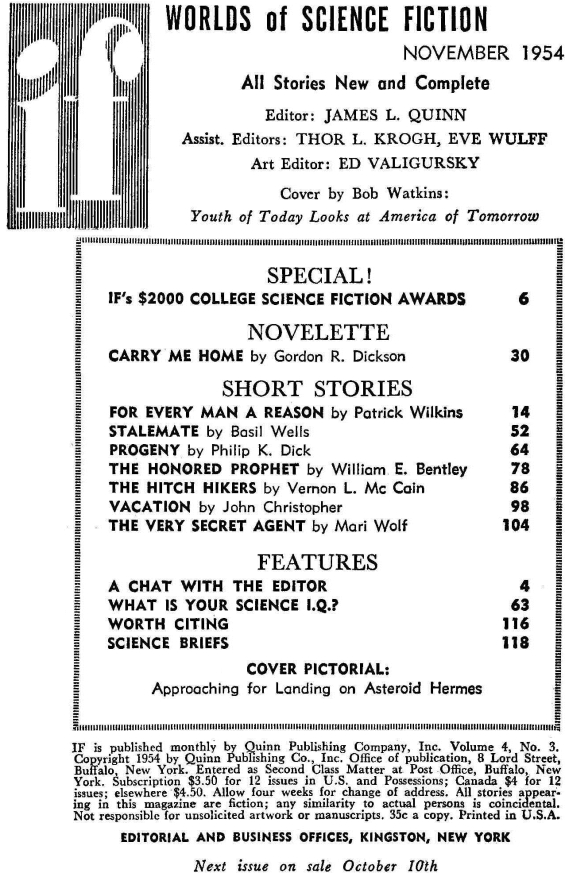 Table of contents for Worlds Of If - November 1954 (includes Progeny by Philip K. Dick)