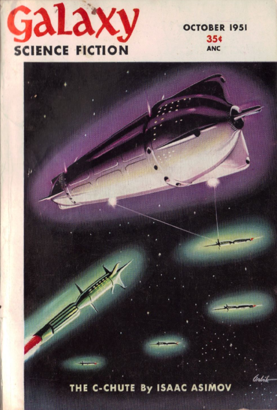 The C-Chute by Isaac Asimov - Cover from the October 1951 issue of Galaxy Magazine