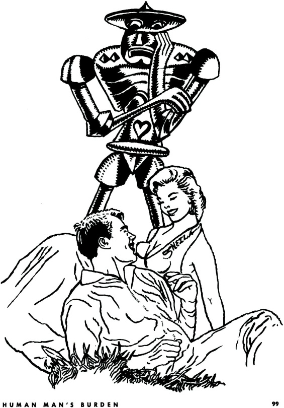 Human Man's Burden by Robert Sheckley - ilustration by Weiss