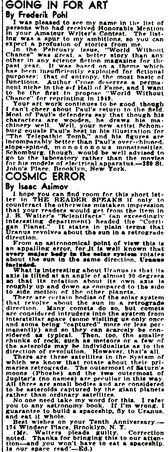 Frederik Pohl and Isaac Asimov in the letters column of Thrilling Wonder Stories - June 1939