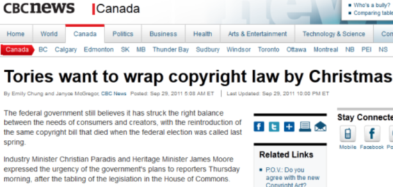 CBC.ca  - Tories Want To Wrap Copyright Law By Christmas