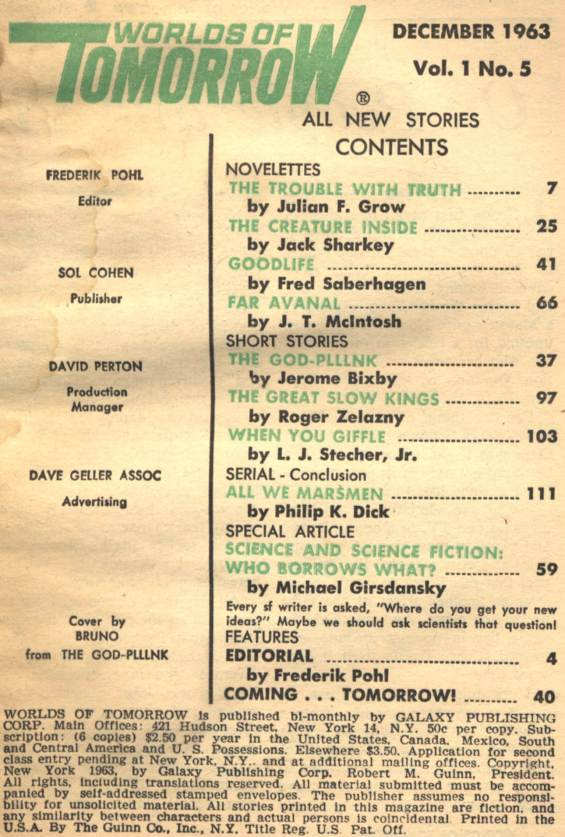 Table of contents for the December 1963 Worlds of Tomorrow (includes All We Marsmen by Philip K. Dick - Part 3 of 3):