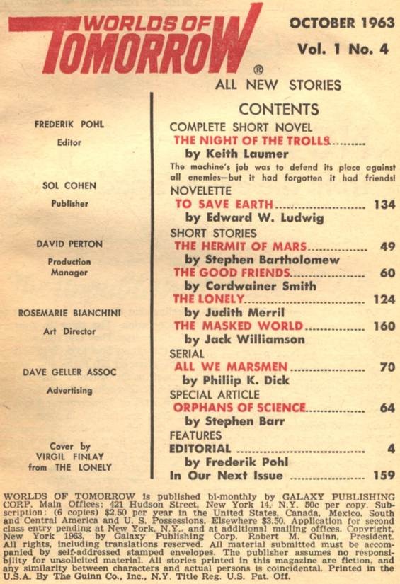 Table of contents for the October 1963 Worlds of Tomorrow (includes All We Marsmen by Philip K. Dick - Part 2 of 3):