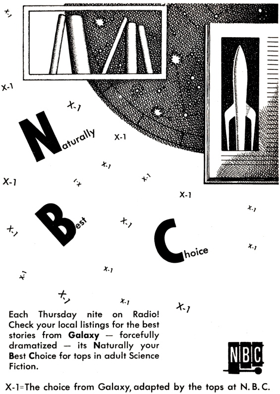 X Minus One AD from Galaxy Science Fiction's February 1958 issue