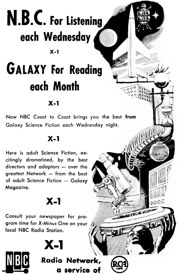 X Minus One AD from Galaxy magazine's May 1956 issue