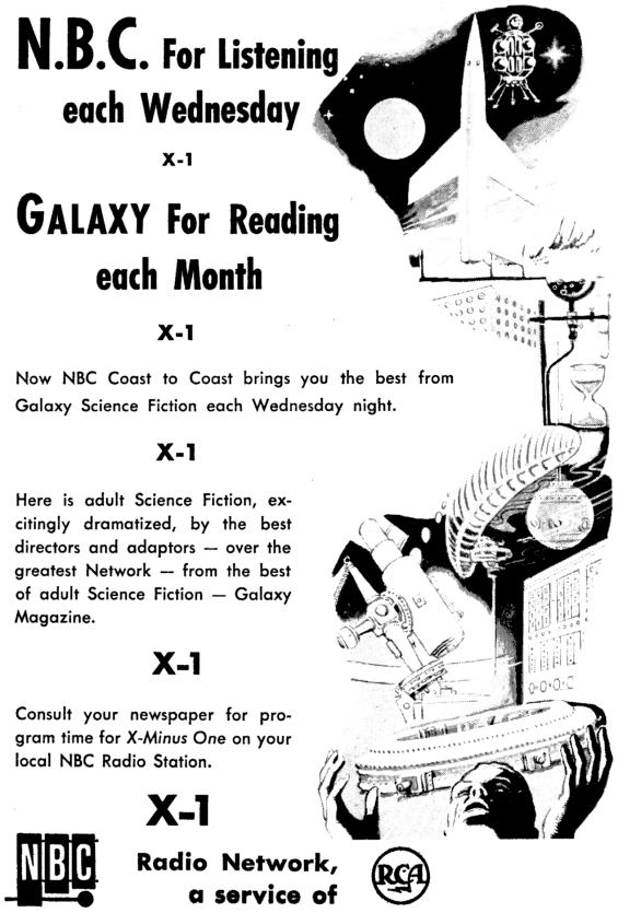X Minus One ad from the April 1956 issue of Galaxy Science Fiction