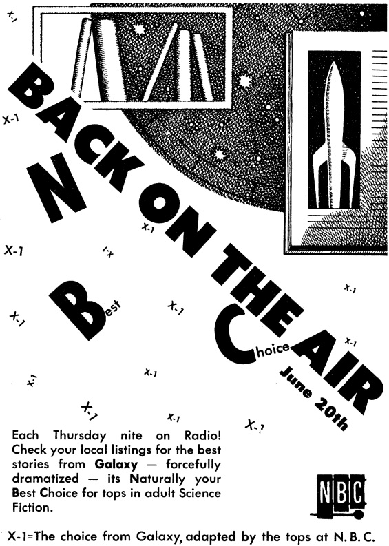 "X Minus One - ""BACK ON THE AIR"" - an ad from Galaxy, August 1957"