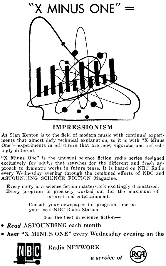 X Minus One ad from the January 1956 issue of Astounding