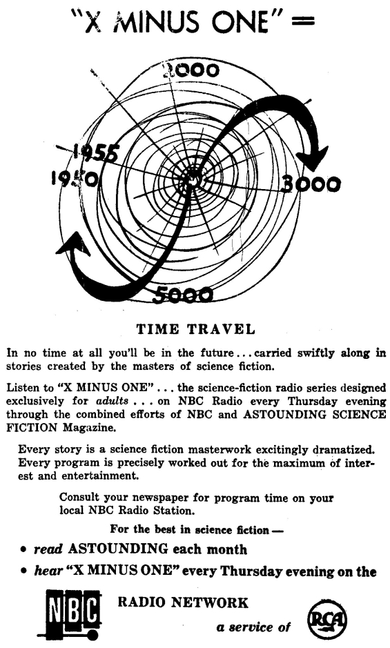 X Minus One ad from the November 1955 issue of Astounding Science Fiction