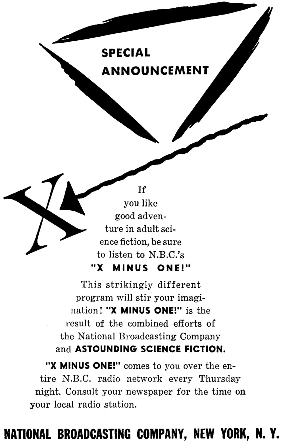 X Minus One advertizement from Astounding September 1955