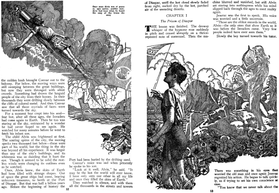 Against The Fall Of Night by Arthur C. Clarke (page 12 and 13 of Startling Stories, November 1948)