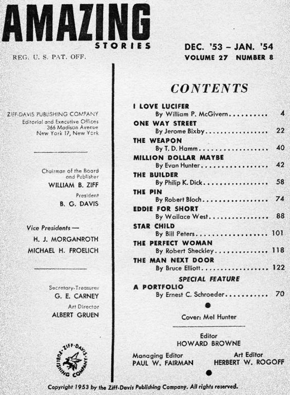 Amazing, December 1953 - January 1954 - table of contents (includes The Builder by Philip K. Dick)