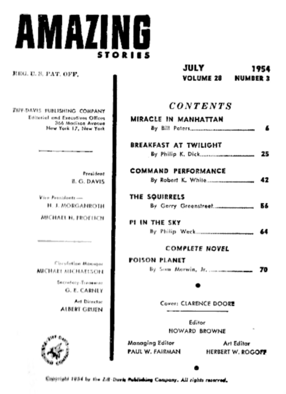 Amazing July 1954 - Table of contents (includes Breakfast At Twilight by Philip K. Dick)