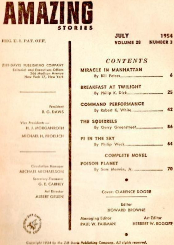 Amazing Stories, July 1954 table of contents (includes Breakfast At Twilight by Philip K. Dick)