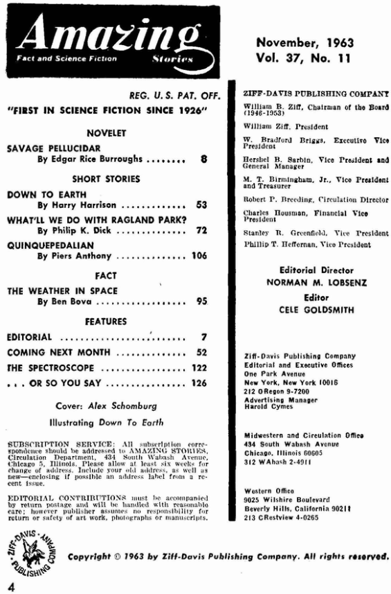 Amazing Stories, November 1963 - table of contents (includes What'll We Do With Ragland Park? by Philip K. Dick)