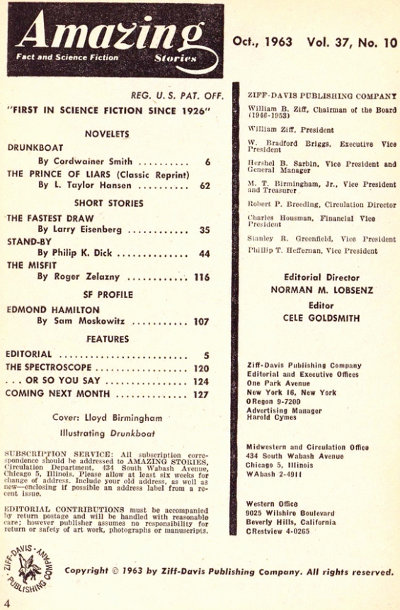 Amazing Stories, October 1963 - table of contents (includes Stand-By by Philip K. Dick)
