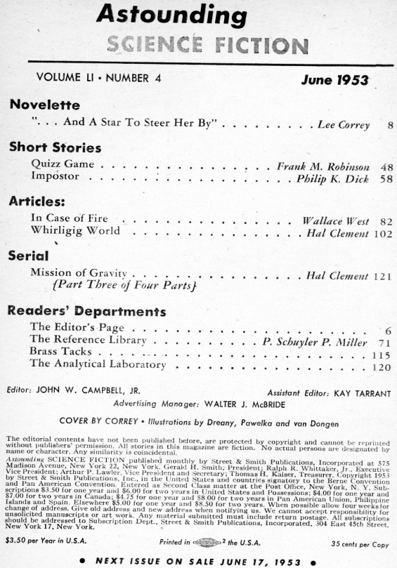 Astounding, June 1953 - table of contents (includes Impostor by Philip K. Dick)